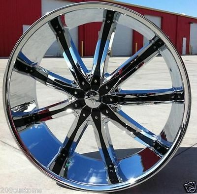 "24"" D'CENTI DW-29 CHROME WHEELS & TIRES ESCALADE TAHOE SENSORS INCLUDED"