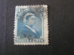 NEWFOUNDLAND-SCOTT-49-3c-VALUE-QV-BLUE-1880-ISSUE-USED