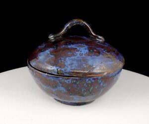 Studio-Art-Ceramica-Porcelana-Azul-y-Marron-Moteado-13-3cm-con-Tapa-Cuenco
