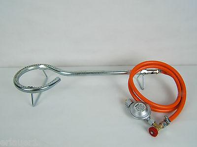 Gasbrenner Ø 15 cm mit Druckregler u Regulierventil f Räucherofen Gulaschkessel