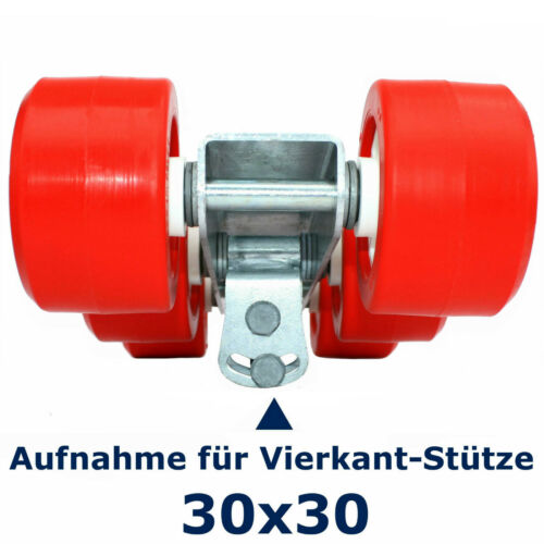 Sliprolle Trailerrolle ⚓ 6er-Slipwagen rot Adapter 30//40 mm Rollen Ø100xB60