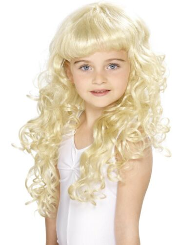 Childrens Princess Wig Girls Long Curly Blonde Fairytale Fancy Dress Wig