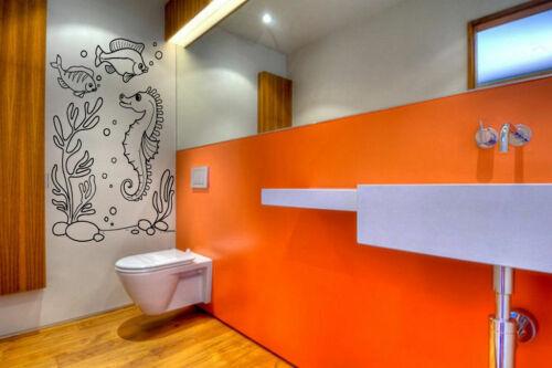 Wall Vinyl Sticker Room Decals Mural Design Seahorse Fish Sea Ocean Deep bo1582