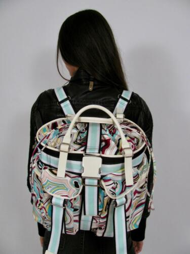 EMILIO PUCCI ITALY BACKPACK PURSE BLUE PINK VTG PR