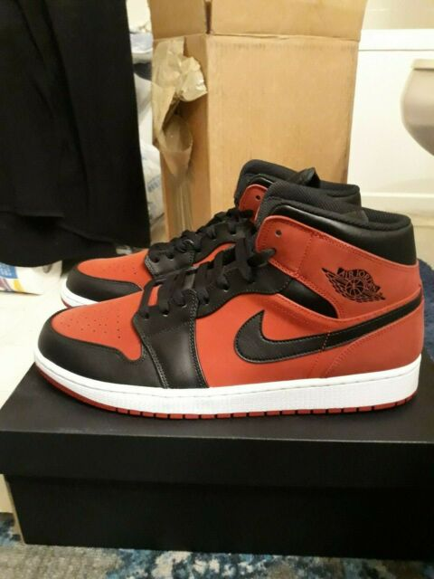 new arrive 489ce 9df2a Air Jordan 1 Mid Banned 554724-610 Red Black White Size 13