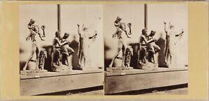 Italia-Museo-Da-Napoli-Sala-Sculture-Ca-1860-Foto-Stereo-Vintage-Albumina