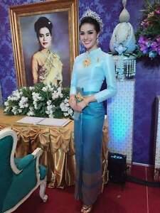 THAI WEDDING DRESS TRADITIONAL BRIDAL CHUT THAI BOROMPHIMAN LIGHT ...