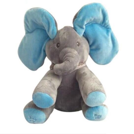Peek-a-boo Singing Elephant Music Doll Plush Toy Stuffed Toys Kids XMAS Gift UK 6