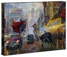 Thomas Kinkade Studios Batman, Superman, Wonder Woman 10 x 14 Wrap Canvas