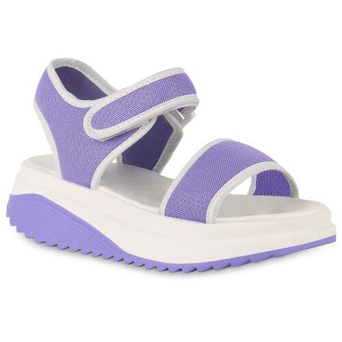 Damen Plateau Sandaletten Keilabsatz Sandalen Wedges Glitzer 830753 Schuhe