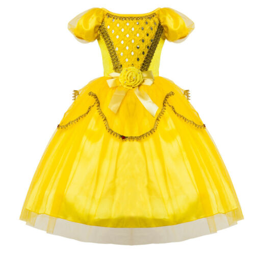 Kid Girl Princess Belle Cosplay Dress Halloween Christmas Party Costume