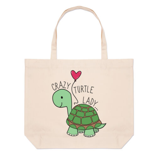 Crazy Turtle Lady Large Beach Tote Bag Funny Shopper Shoulder