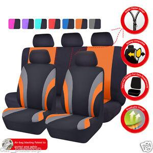 Universal-Car-Seat-Cover-Orange-Black-Split-Rear-60-40-Airbag-washable-Polyester