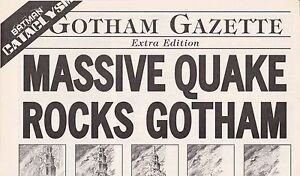BATMAN CATACLYSM GOTHAM GAZETTE MASSIVE QUAKE ROCKS GOTHAM RETAILER PROMO 1998