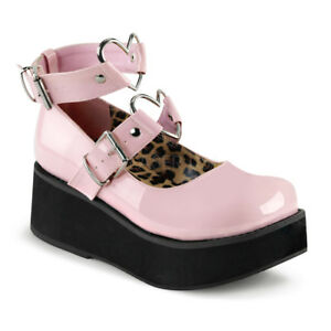 Demonia-SPRITE-02-Women-039-s-Pink-Platform-Mary-Jane-Heart-O-Rings-Studs-Shoes