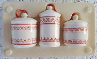 3 Unique Christmas Ornaments Ceramic Kitchen Canister Replicas White & Red Mini