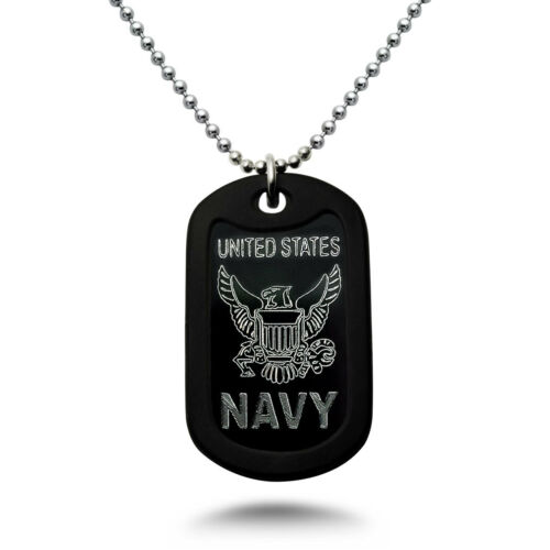 Verset Style Militaire Aluminium Dog Tag Collier U.S Psaume 23:4 NAVY LOGO