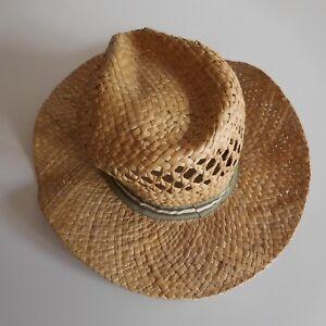 Chapeau-femme-homme-100-paille-naturelle-taille-55-vintage-XXe-France-N3359