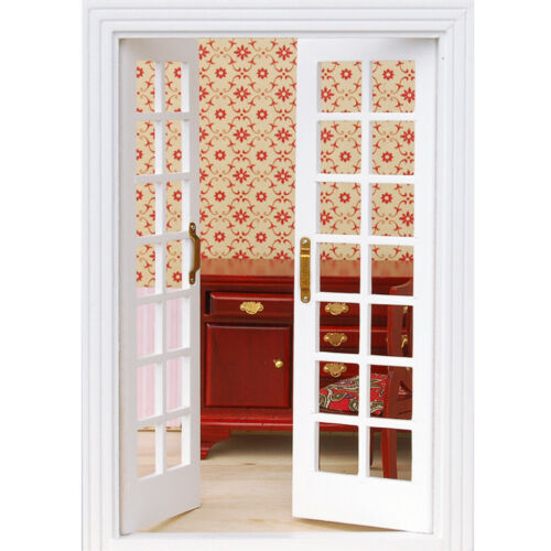 1//12 Scale Dolls House Furniture Miniature Exterior Wooden French Door White