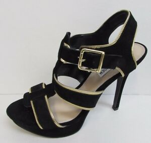 Image is loading Steve-Madden-Size-9-5-Black-Gold-Leather-