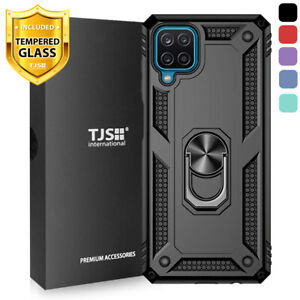 For Samsung Galaxy A12, Phone Case TJS DuoGuard Ring Holder Cover+Tempered Glass