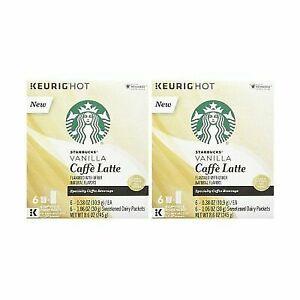 Starbucks Vanilla Caffe Latte Keurig K Cups Pods Coffee Specialty