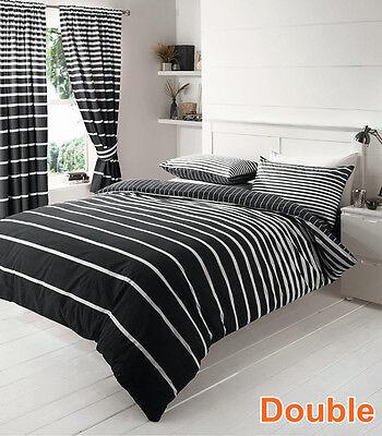 Single/Double/Queen/King Bed Quilt/Duvet Cover Set-Black White Stripe