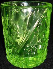 Green Vaseline glass toothpick holder uranium floral Daisy and button sunflower