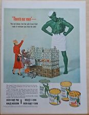 1953 magazine ad for Green Giant Vegetables - Jolly Giant & grocery shoppers