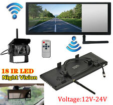 """Wireless 7"""" LCD Mirror Monitor Waterproof IR LED Rear View Back up Camera System"""