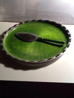 Simply Designz Organic Fluted Cake Plate Server Lemongrass Housewarming Gift Set