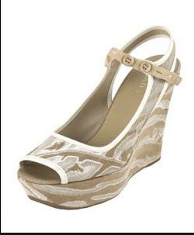 450 NEW BOX PRADA US 9.5 EUR 40 Peep Toe Wedges Platforms Heels Sandals schuhe