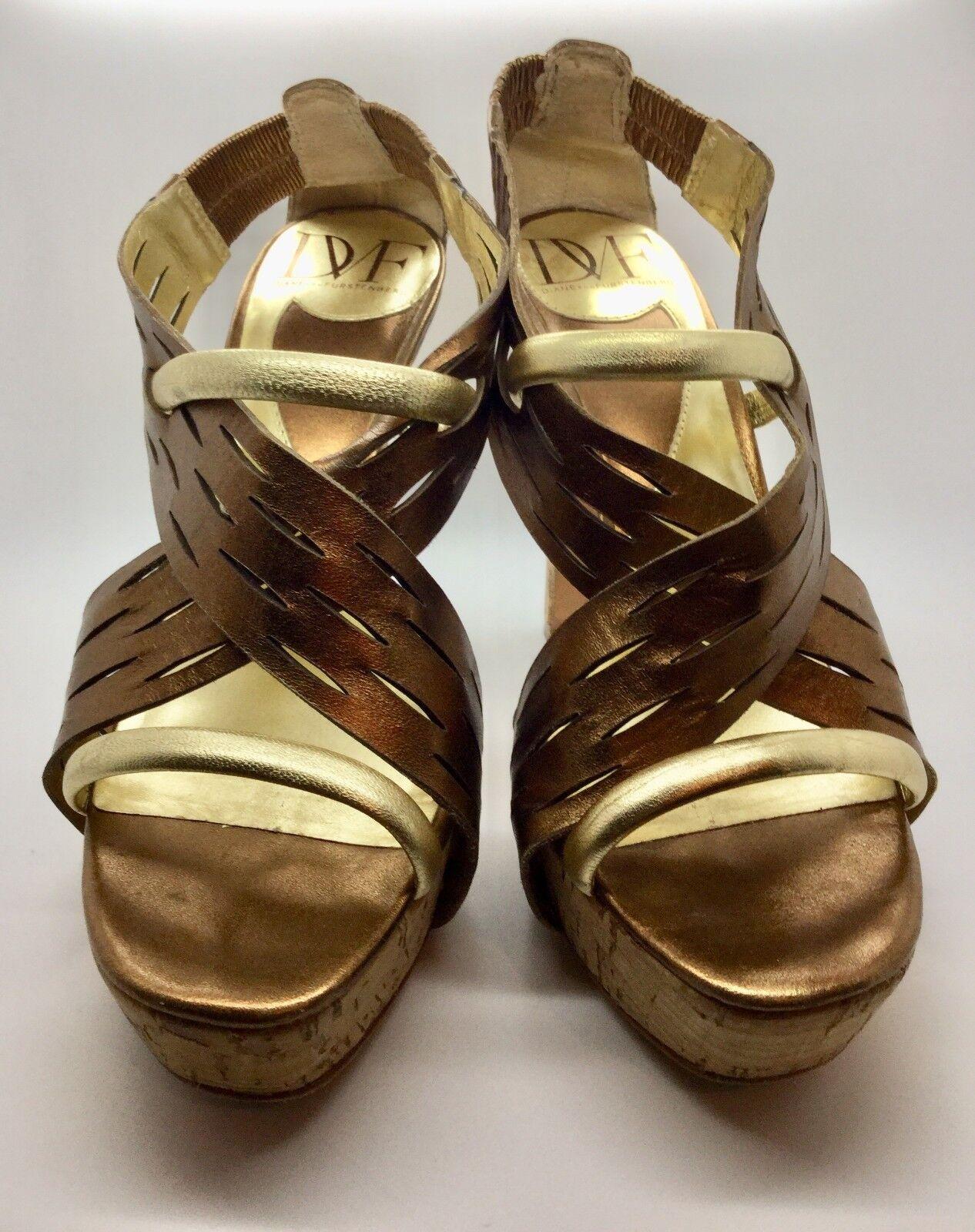 DIANE VON FURSTENBERG DVF Gold Bronze Leder Cork Heeled Sandale Pump Größe 6.5