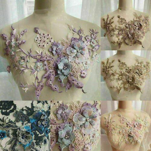 Blumen Stickerei Brautspitze Applikation Perle Perlen Tüll Brautkleid