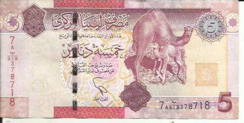 VF CONDITION LIBYA 5 DINARS P 77 4RW 17MAI