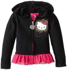 NEW-Hello-Kitty-Girls-039-Ruffle-Bottom-Hoodie-Hoody-Size-4-Black-Pink-Tulle-Trim