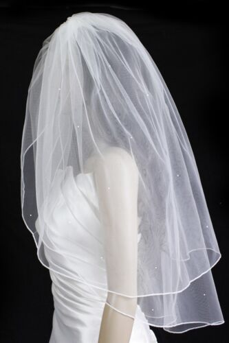 Bridal Veil White 2 Tier Fingertip Length Pencil Edge With Scattered Rhinestones