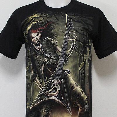 Skull Undead Guitar Tattoo Rock Eagle T-Shirt 100% Cotton G19 Size M L XL 2XL