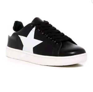 Steve-Madden-Rhode-Faux-Leather-Sneakers-Women-039-s-Size-8-M-Black-White-Star