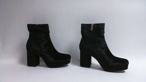 Uk 8 Black 3 Boots Truffle Crushed Sizes Ankle Collecdtion Ladies Velvet W6v0Zaqv