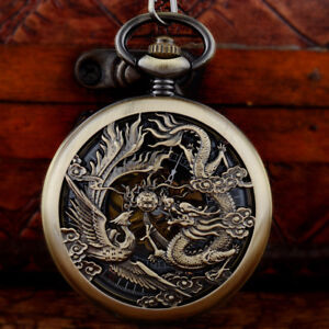 Men-Antique-Dragon-Engraved-Mechanical-Pocket-Watch-Fob-Chain-Pendant-Steampunk