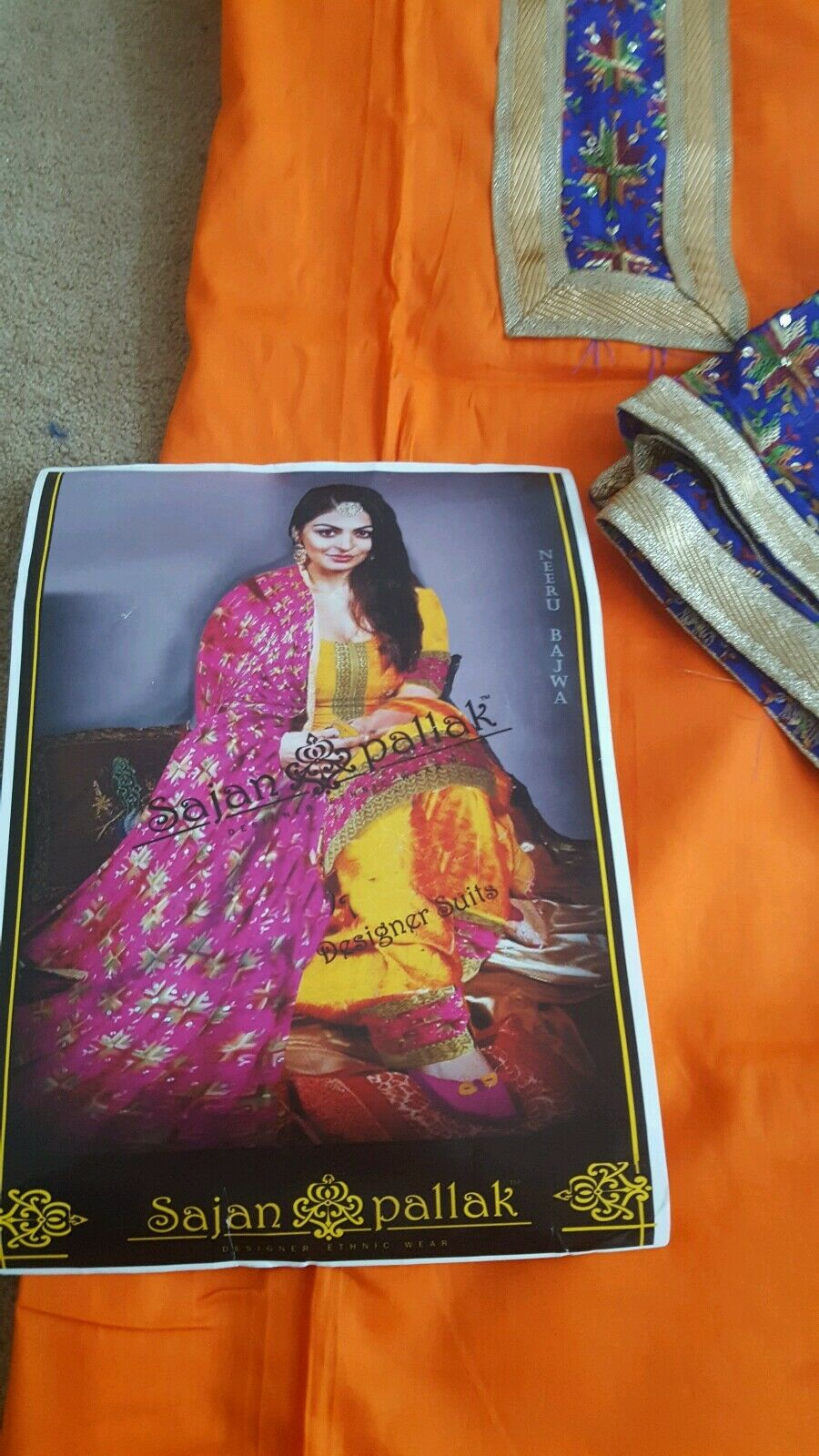 Indian Pakistani Punjabi Phulkari Salwar Kameez Unstitched Suit