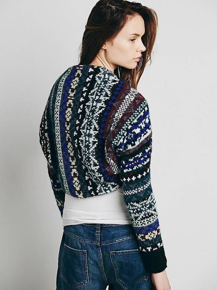 NWOT NEW WOMENS FREE PEOPLE blueE FAIRISLE SHRUG SWEATER W LACE LINING EXTRASMALL