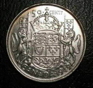 OLD-CANADIAN-COINS-CHOICE-1949-CANADA-FIFTY-CENTS-HOOF-OVER-9