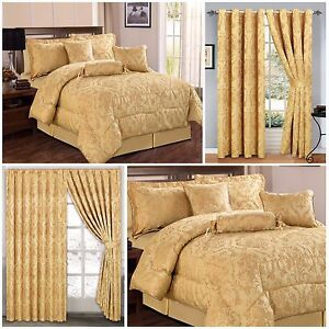 Luxury 7 Piece Quilted Bedspread Gold Comforter Set