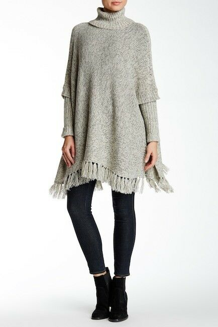 Modern Designer Women's Fringe Sweater Poncho with Arms-White Beach Size M L  96
