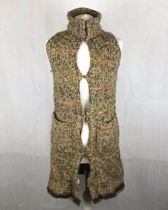 Vintage-Poles-Paris-Long-Line-Cardigan-Sleeveless-Jacket-Wool-Alpaca-Pockets-M