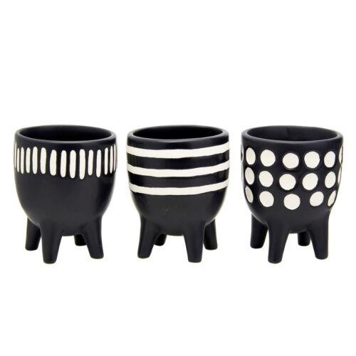 Sass /& Belle Scandi Boho Little Planters On Legs Set Of 3 Small Black Plant Pots