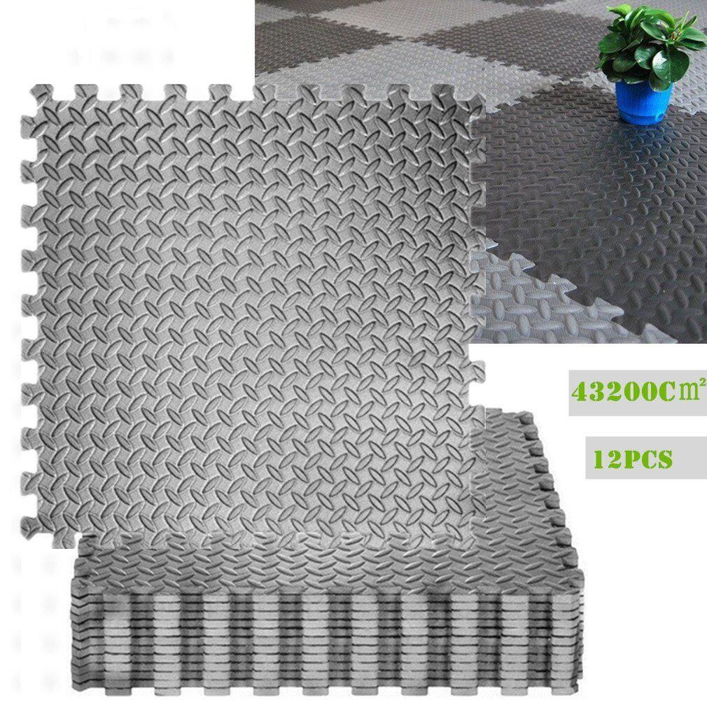 12X Puzzlematte Bodenmatte Turnmatte Bodenbelag Spielmatte EVA Grau 60X60cm KZ