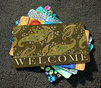 Toland - Green Stained Paisley Welcome - Decorative Door Standard Mat